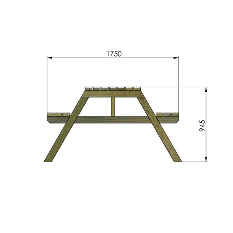 Dimensions table pique nique en bois littoral